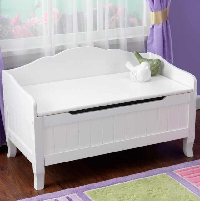 White Toy Storage Bench