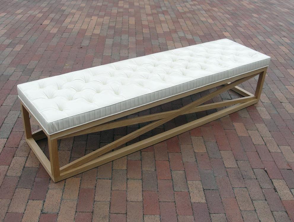 White Tufted Storage Bench