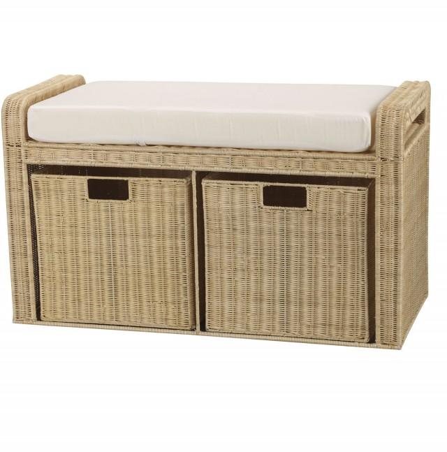 Wicker Storage Bench Seat