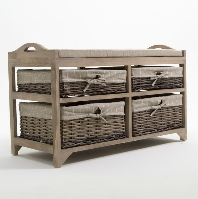 Wicker Storage Bench With Baskets