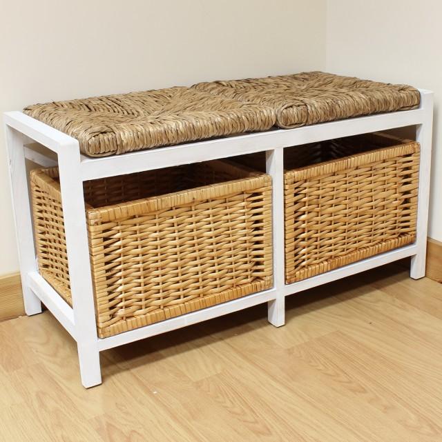Wicker Storage Bench With Cushion