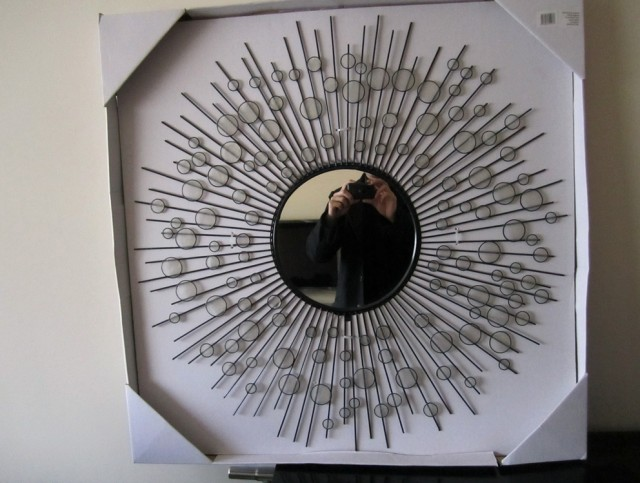 Wire Capiz Sunburst Wall Mirror