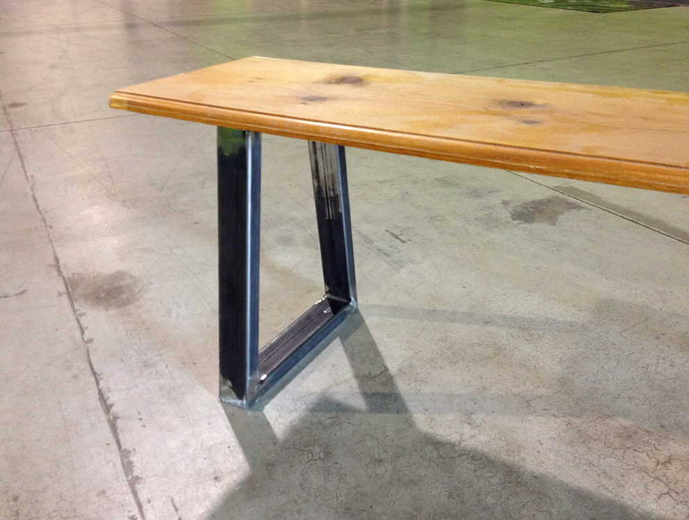 Wood Bench Metal Legs