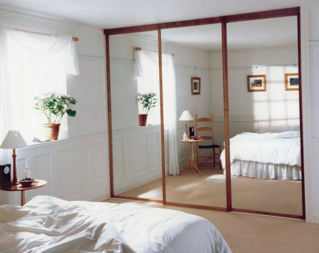 Wood Framed Mirrored Bifold Closet Doors