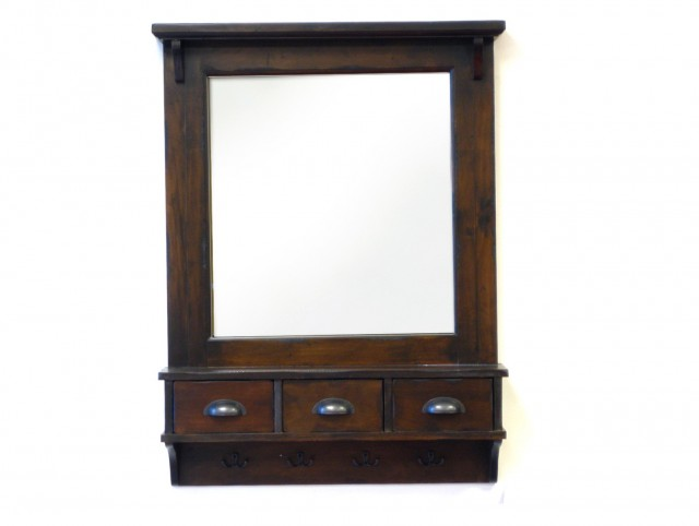 Wooden Bathroom Mirror With Shelf