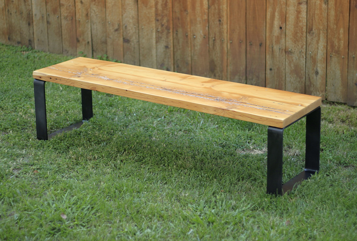Wooden Bench Metal Legs Home Design Ideas
