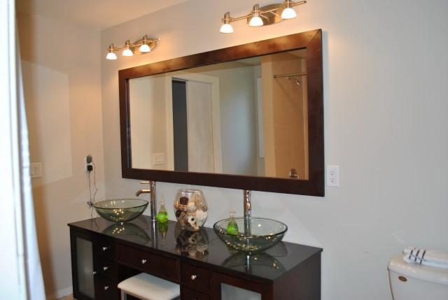 Wooden Frame Bathroom Mirror