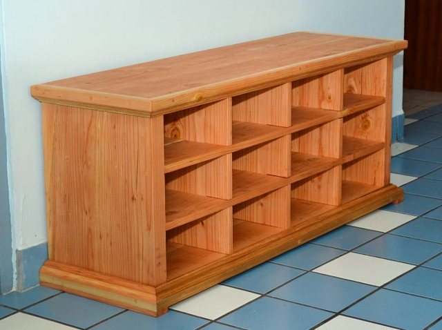 Wooden Shoe Cubby Bench