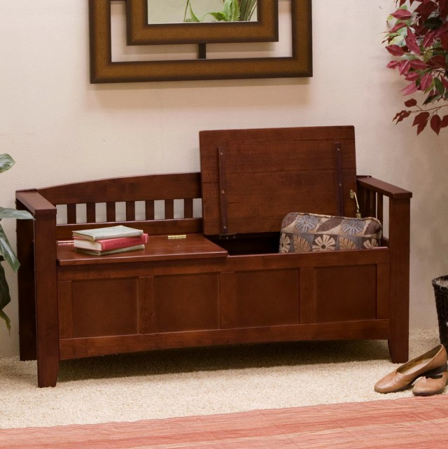 Wooden Storage Bench Indoor