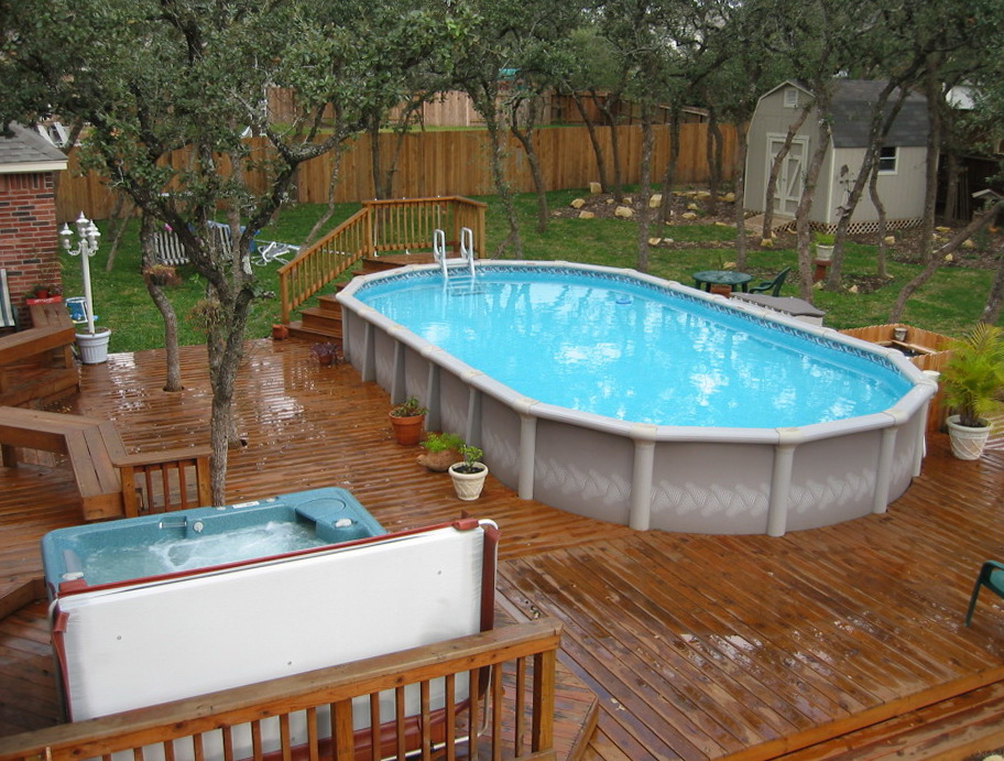 Above ground pool deck kits wood home design ideas - Above ground pool deck ideas on a budget ...