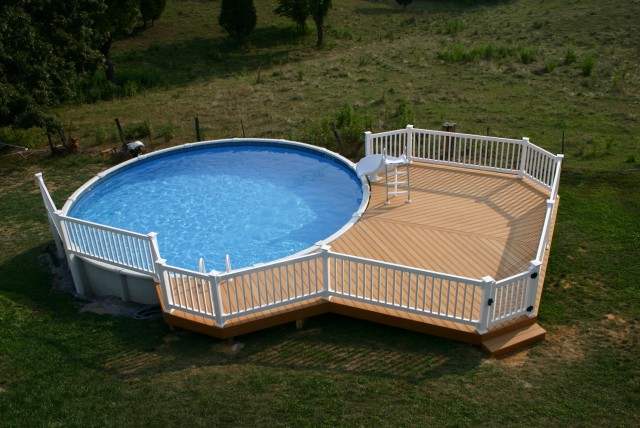 Above ground pool decks on hillside home design ideas for Above ground pool decks for sale