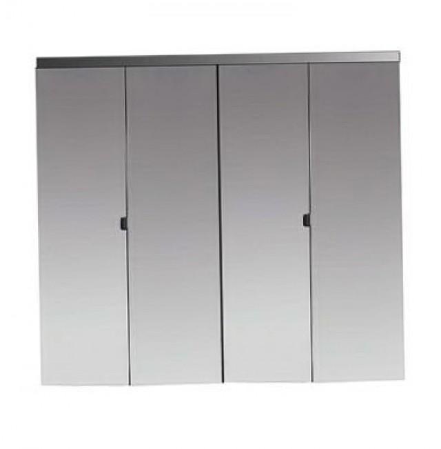 Beveled Edge Mirror Solid Core Chrome Mdf Interior Bi Fold Closet Door
