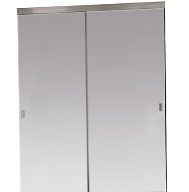 Beveled Edge Mirror Solid Core Chrome Mdf Interior Sliding Door