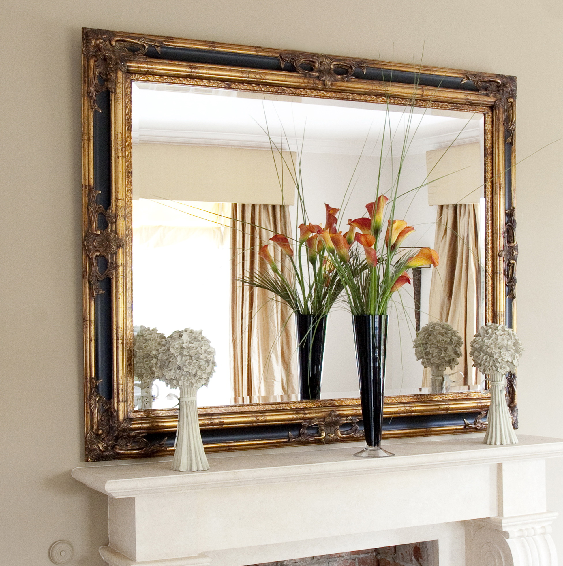 Black And Gold Framed Mirror