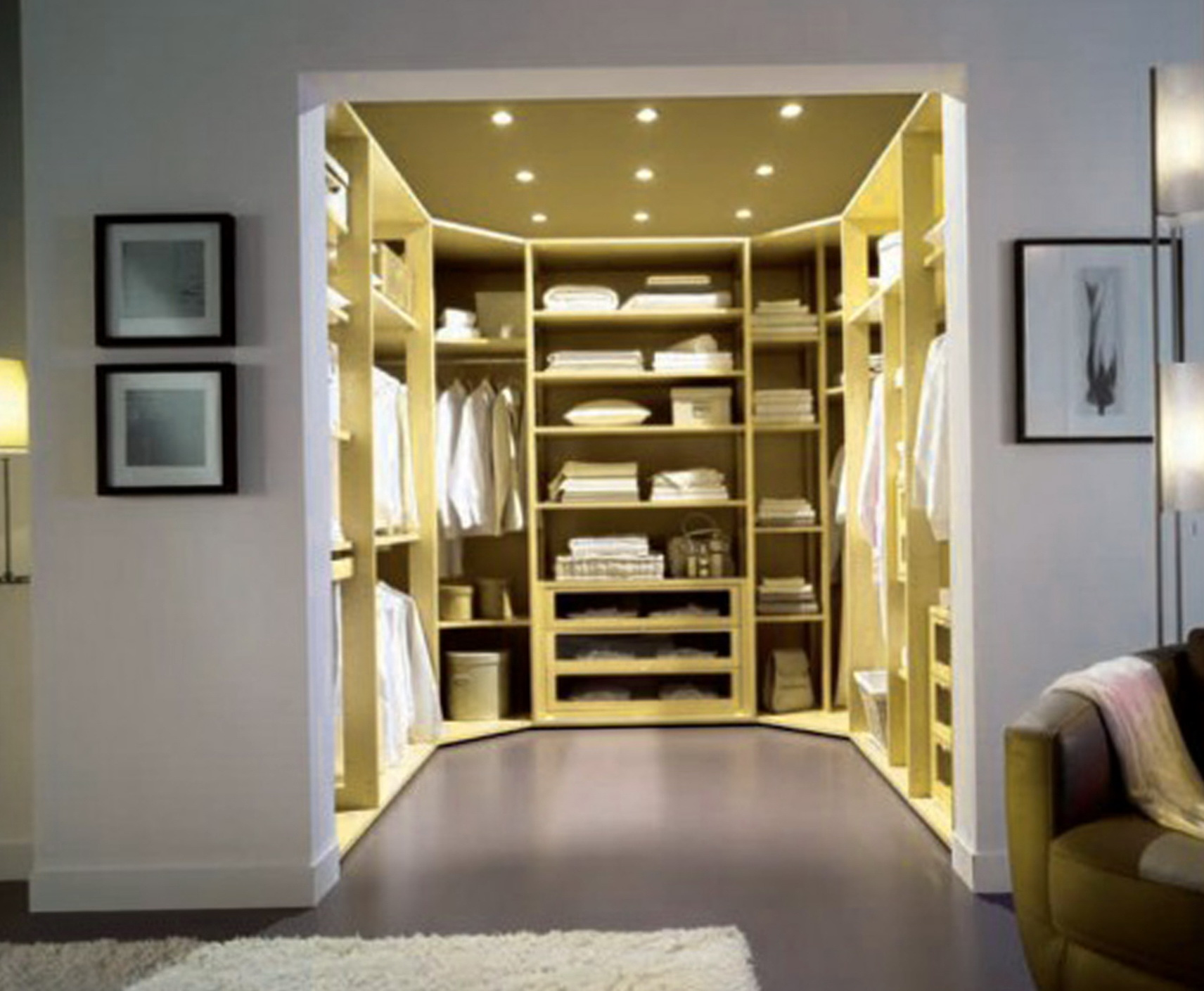 window photo shelves closets flanked by seat shoe closet walk htm in ceiling transitional gray