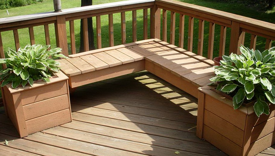 Deck planter boxes bench plans home design ideas for Deck garden box designs