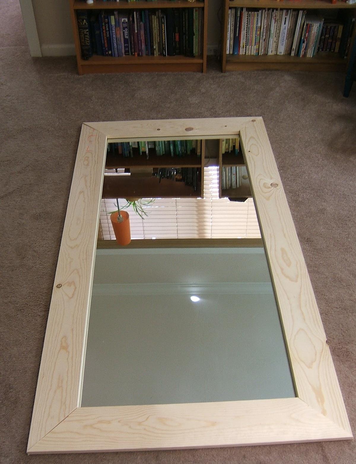 Distressed Wood Floor Mirror