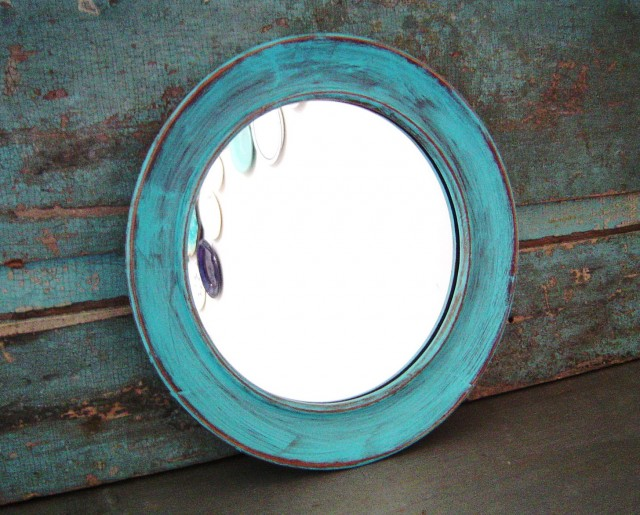 Distressed Wood Mirror Blue