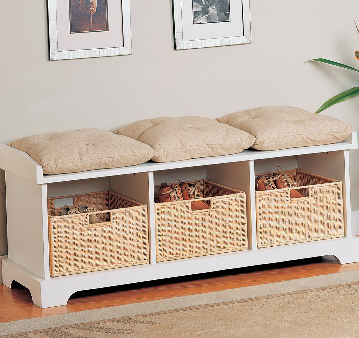 Entryway Bench With Baskets Home Design Ideas