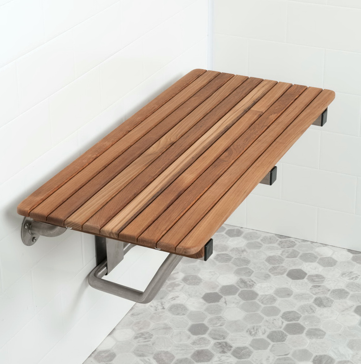 Fold Down Teak Shower Bench | Zef Jam