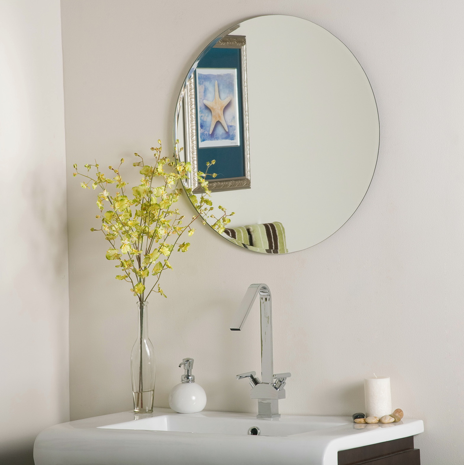 Frameless Arched Beveled Mirror