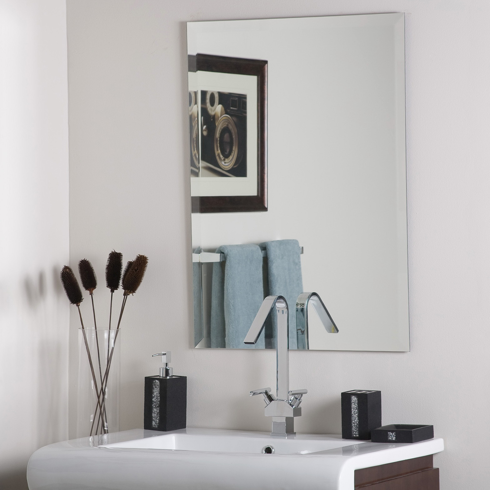 Frameless Beveled Mirror Rectangle