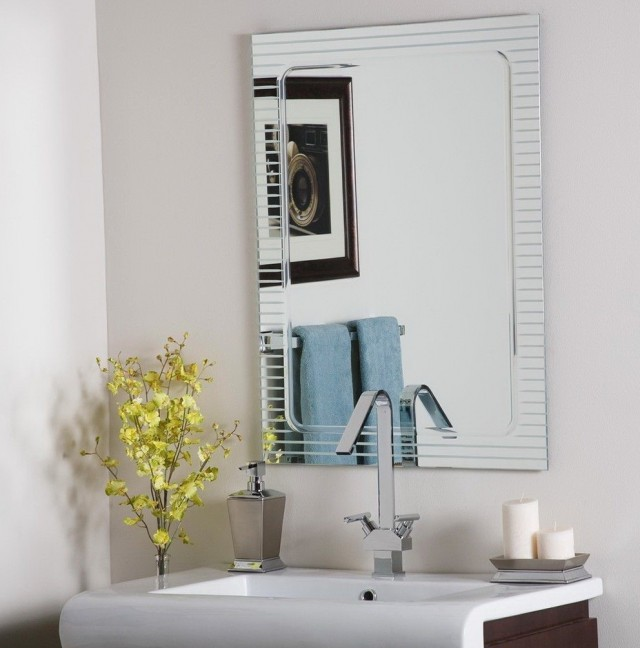 Frameless Beveled Mirrors For Bathroom