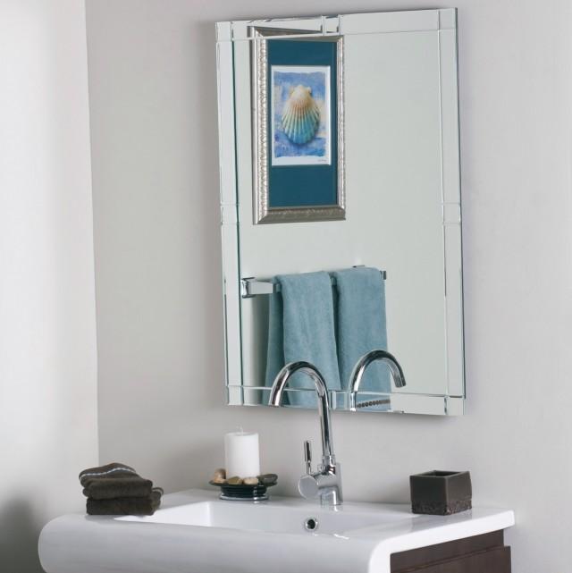 Frameless Beveled Wall Mirror