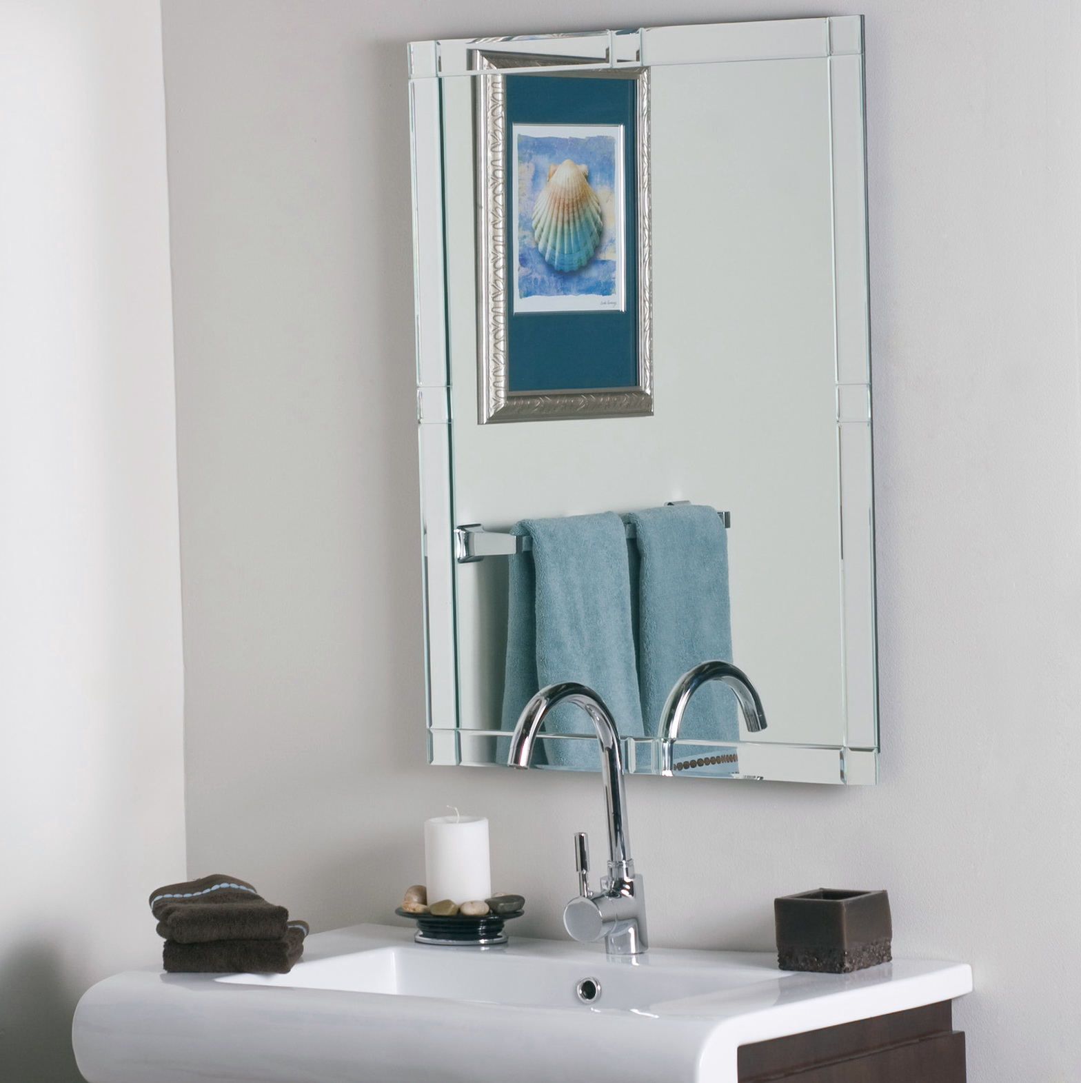 Frameless beveled wall mirror home design ideas for Frameless wall mirror