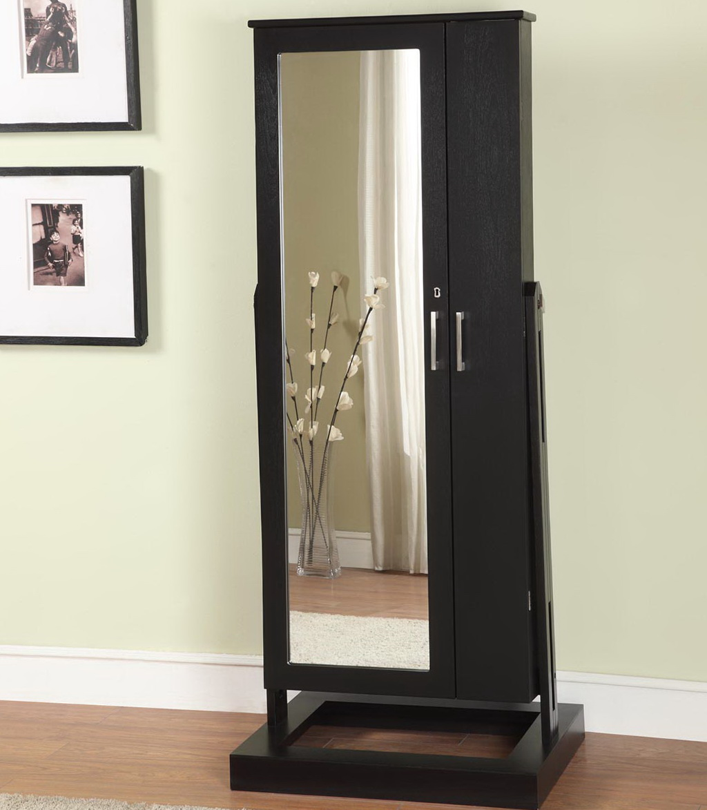 Free Standing Jewelry Armoire With Mirror