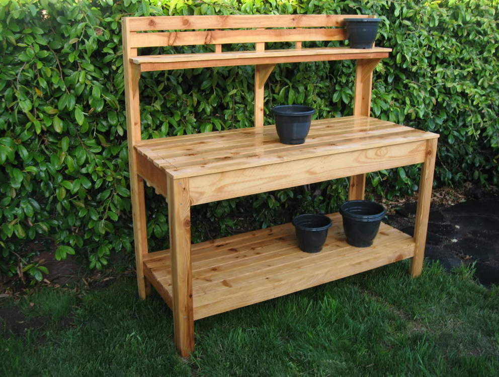 Garden potting bench plans home design ideas Outdoor potting bench