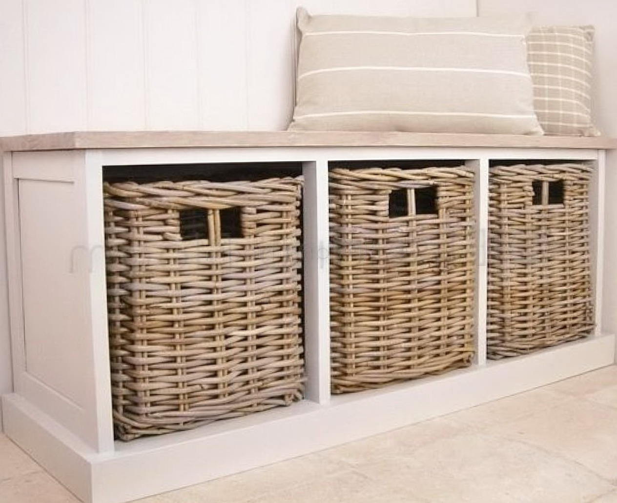 hall storage bench with baskets