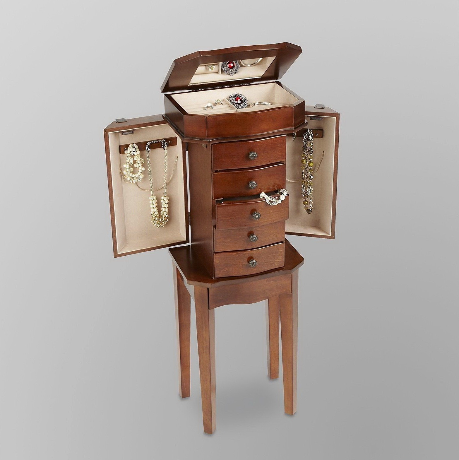 Jewelry Cabinet Armoire Box Stand Organizer Full Size Storage Case