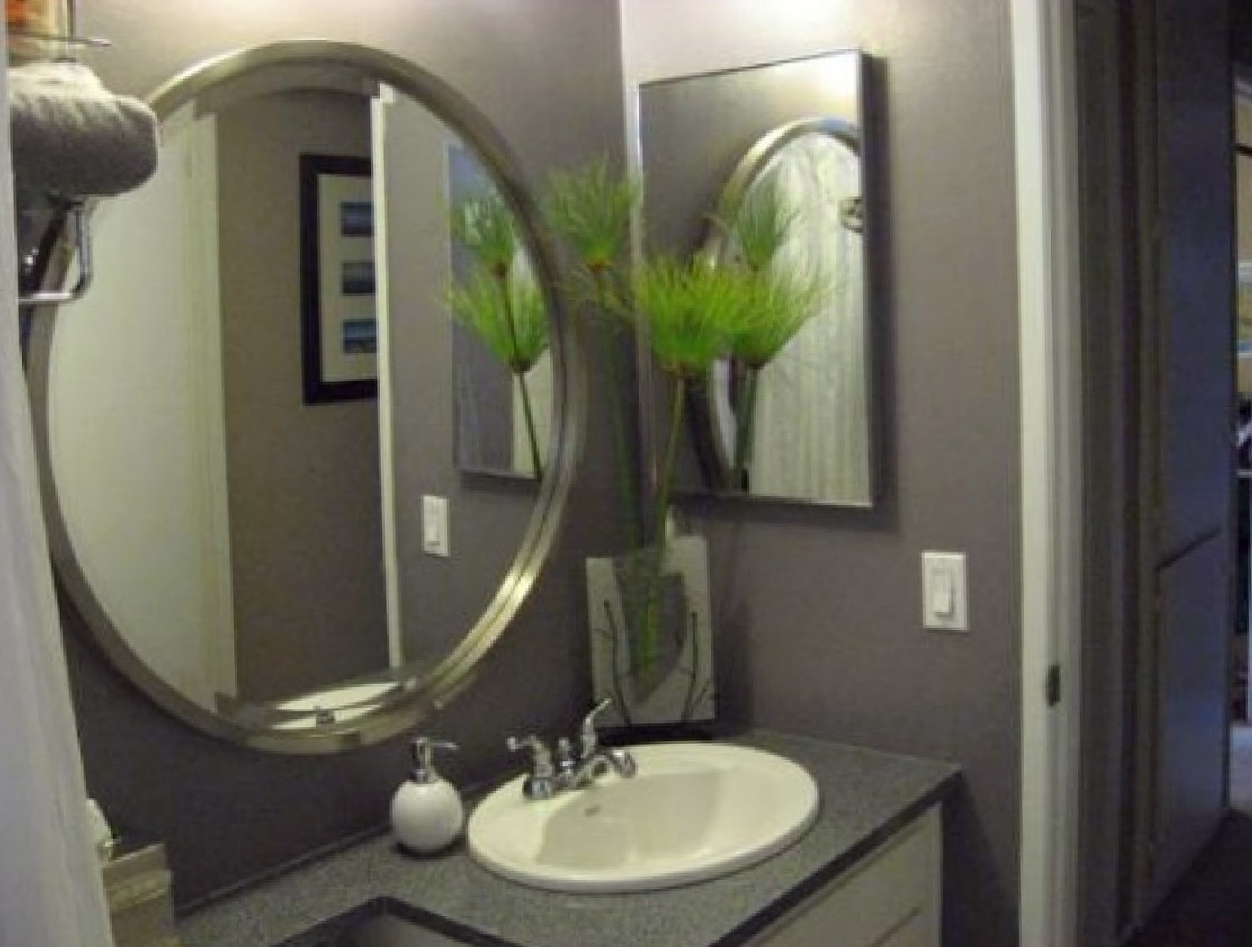 Large round bathroom mirrors home design ideas for Bathroom wall mirrors large