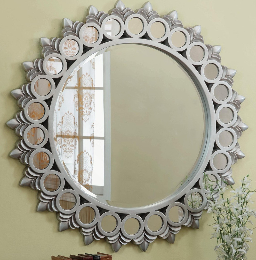 large round silver wall mirror home design ideas. Black Bedroom Furniture Sets. Home Design Ideas
