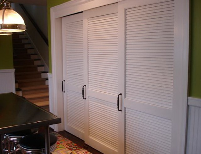 White Louvered Sliding Closet Doors Home Design Ideas