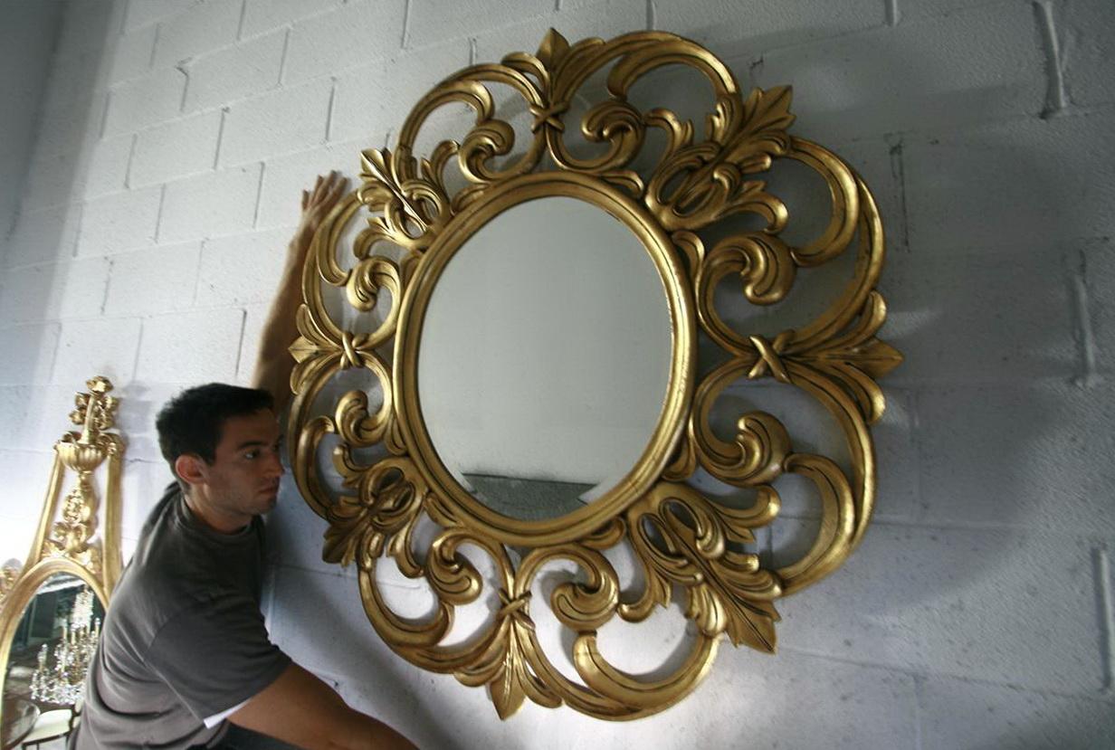 Round Gold Wall Mirror