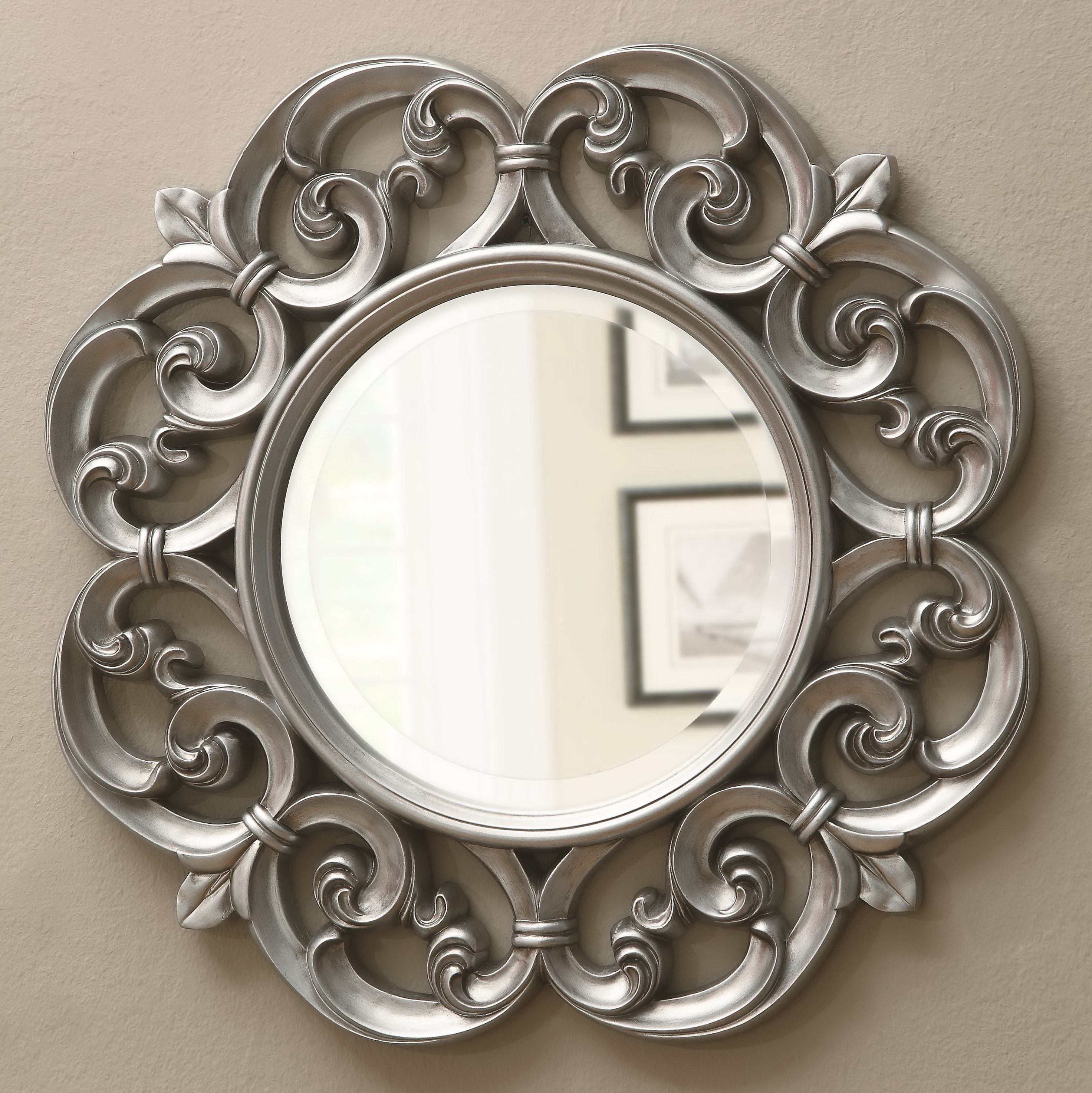 Round silver framed mirror home design ideas for Round silver wall mirror