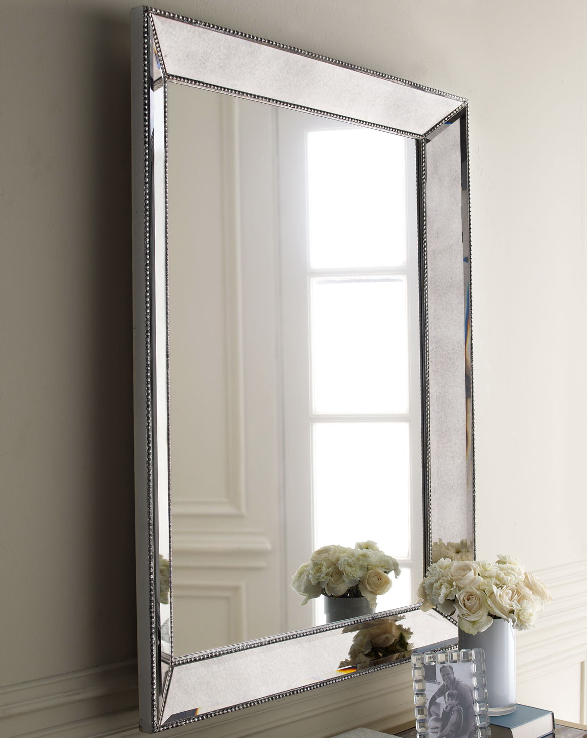 Silver framed mirror bathroom home design ideas for How to frame mirror in bathroom