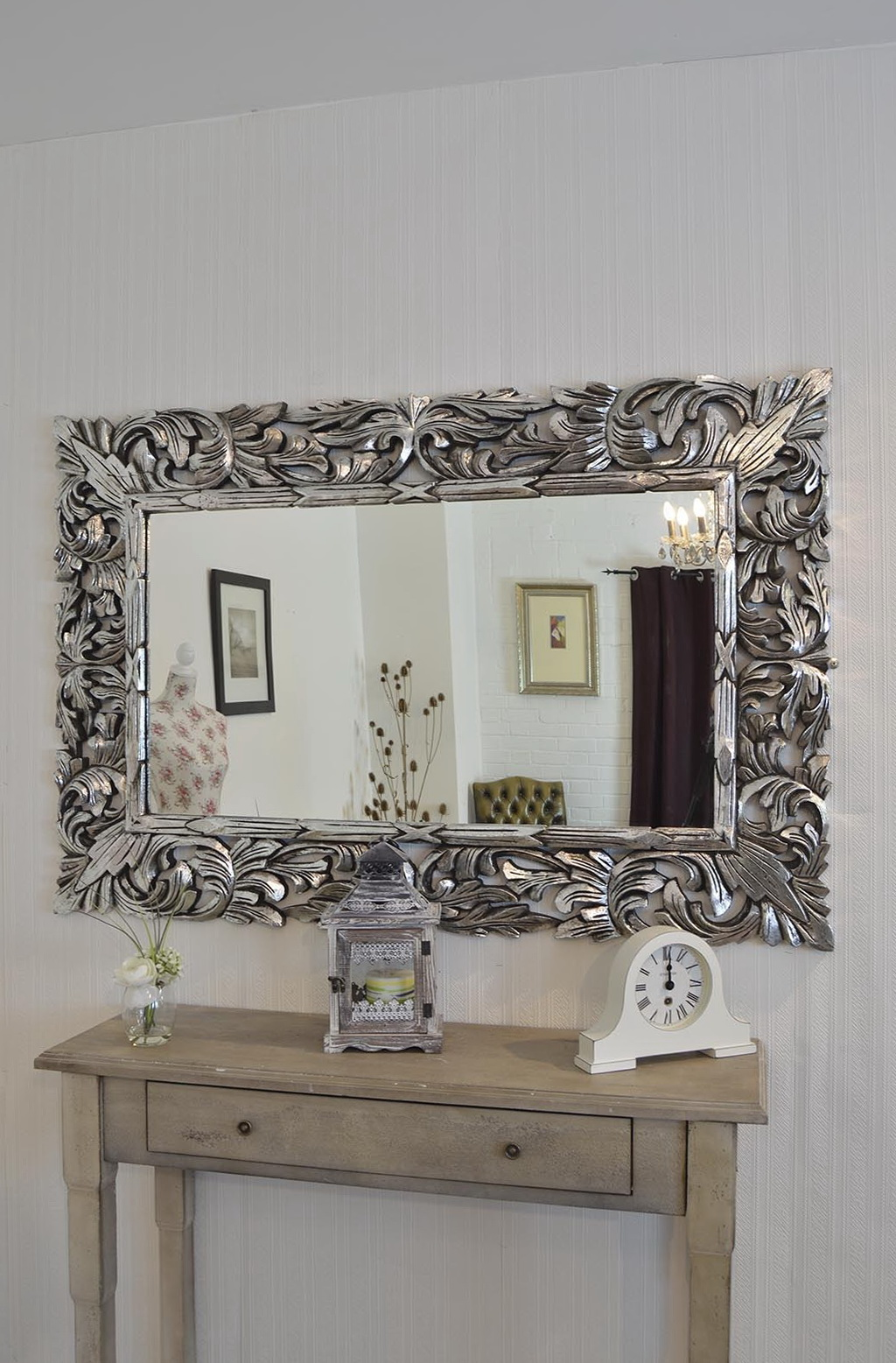 Silver framed mirror large home design ideas for Large white framed mirror