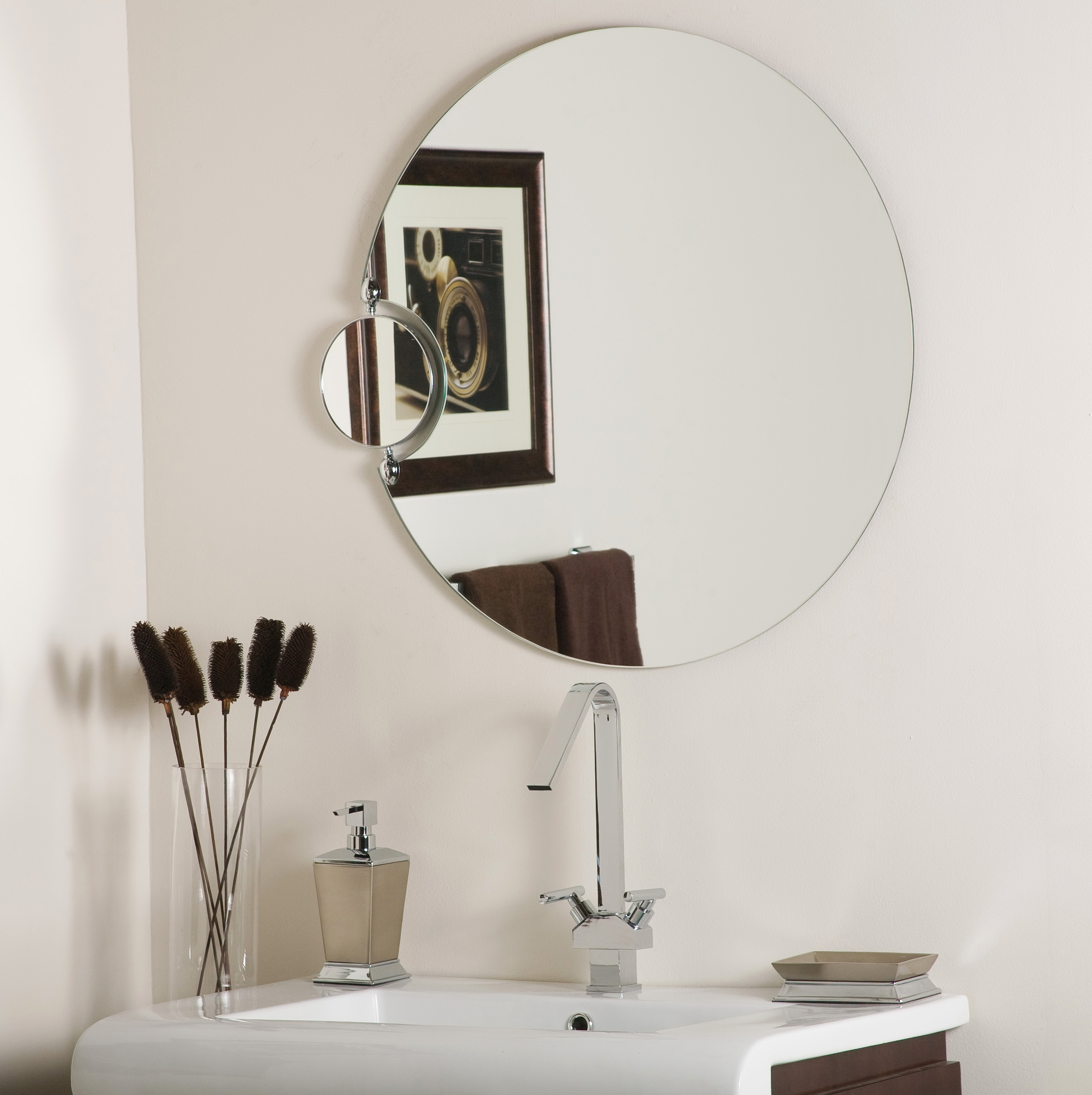 Small round bathroom mirrors home design ideas Small bathroom mirror design