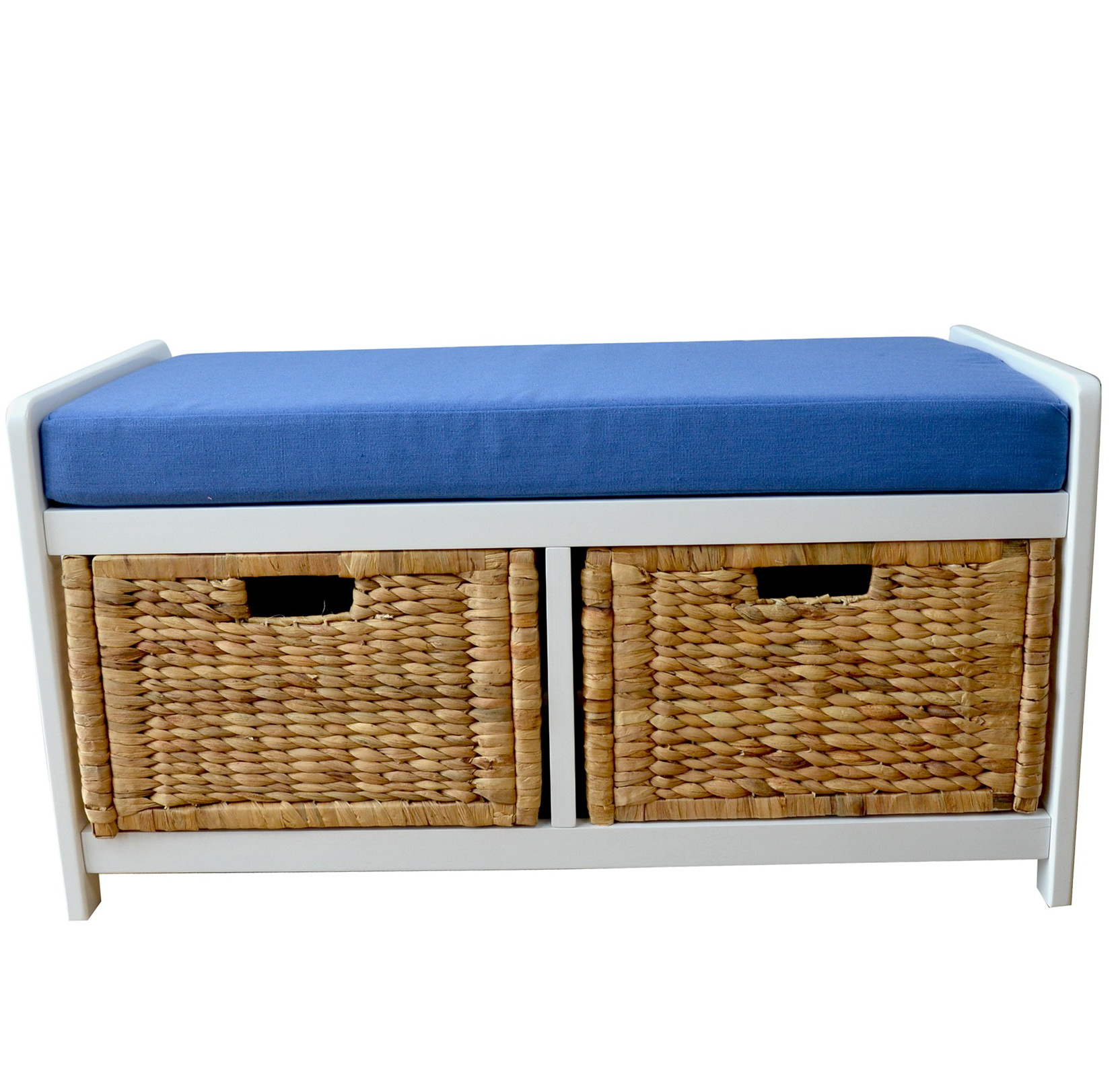 Storage bench with baskets and cushion home design ideas Bench with baskets