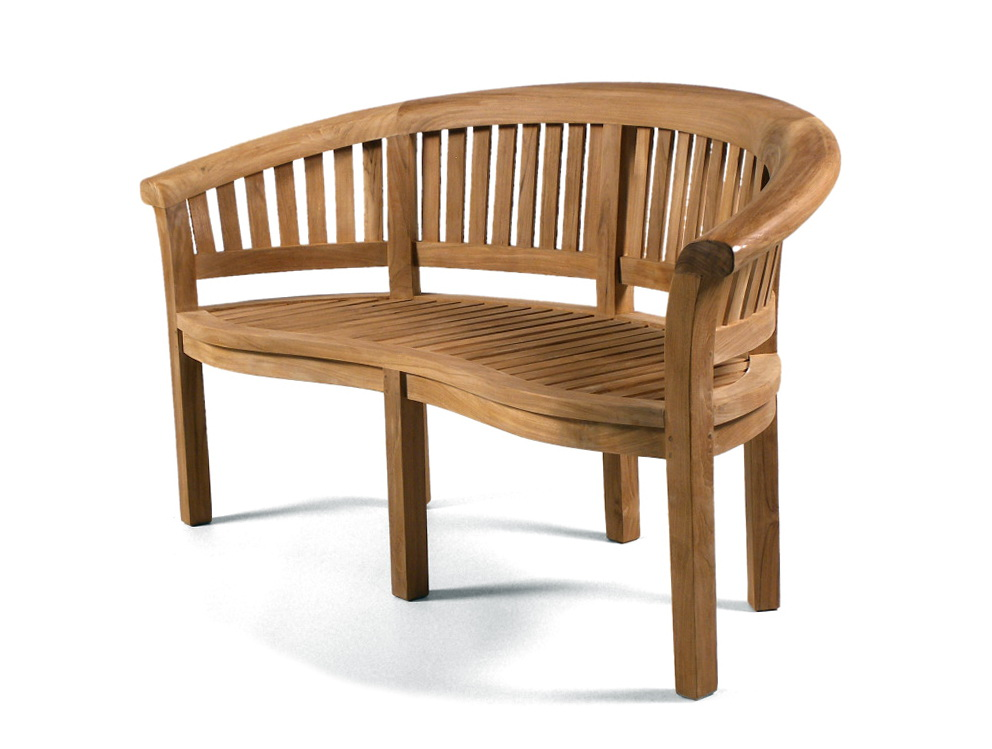 Teak Garden Bench Curved Back Home Design Ideas