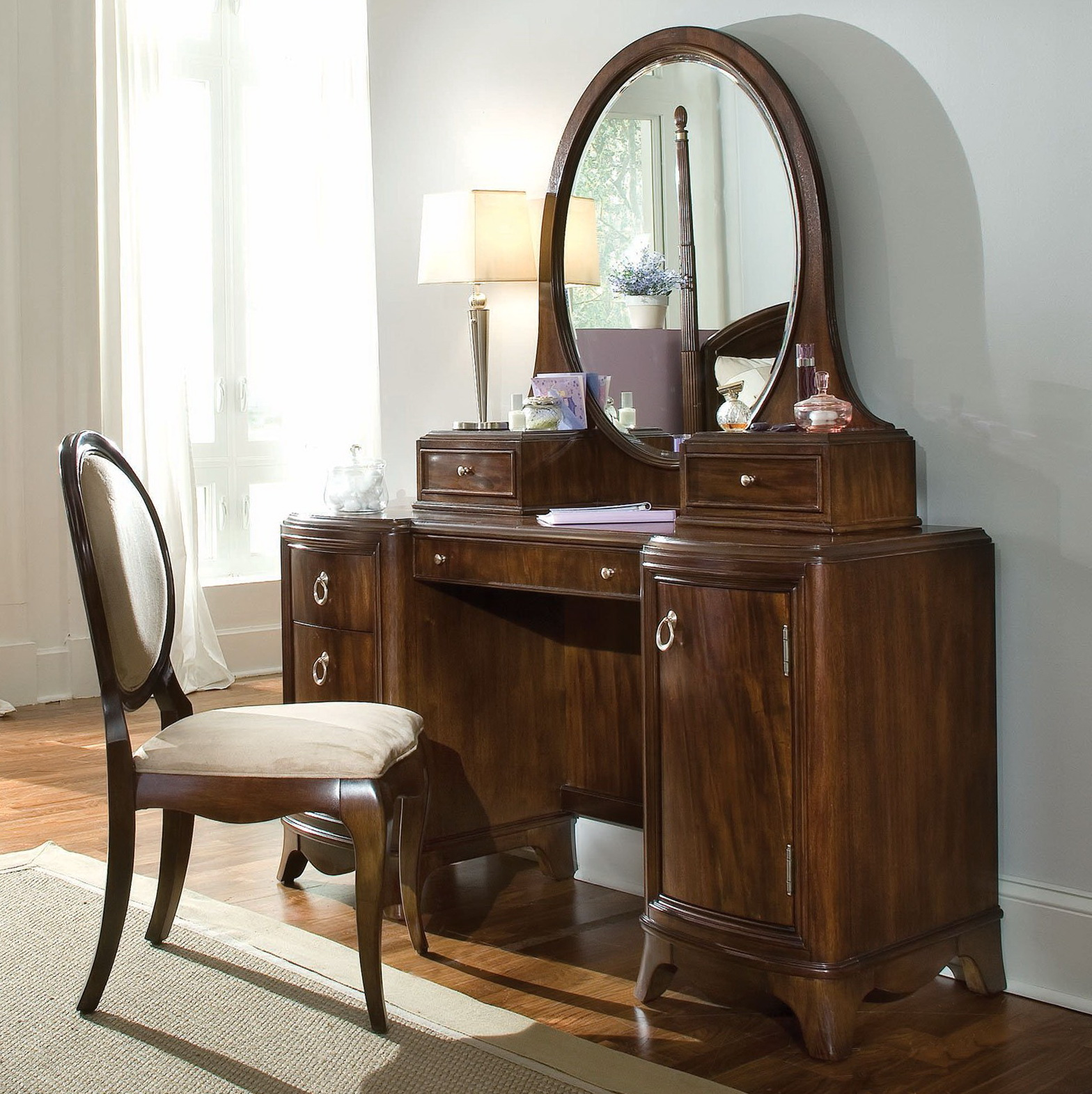 Vanity Table With Lighted Mirror And Bench