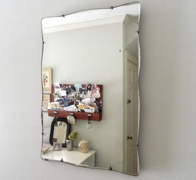 Vintage Frameless Beveled Mirror