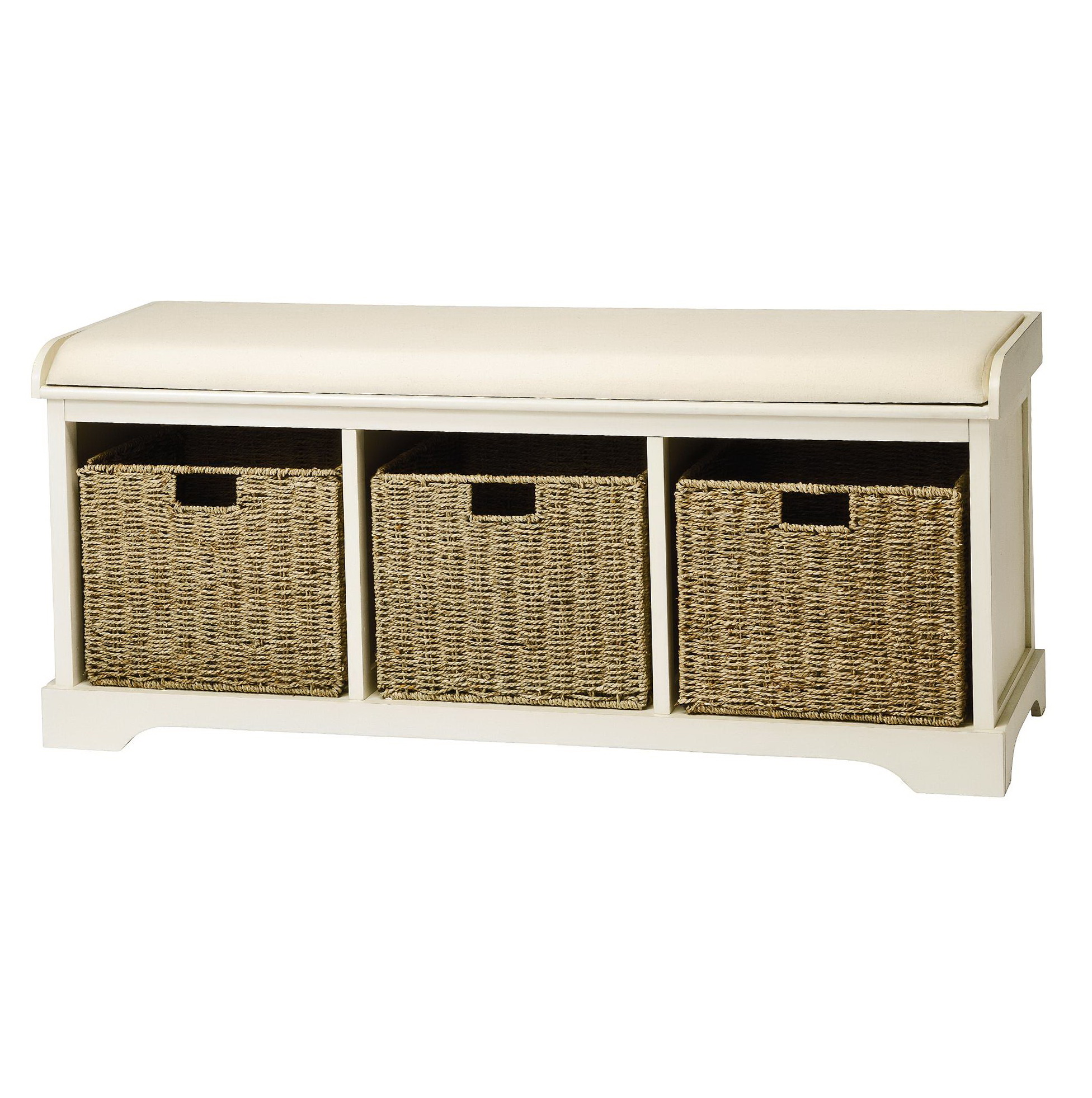 White bench with baskets home design ideas Bench with baskets