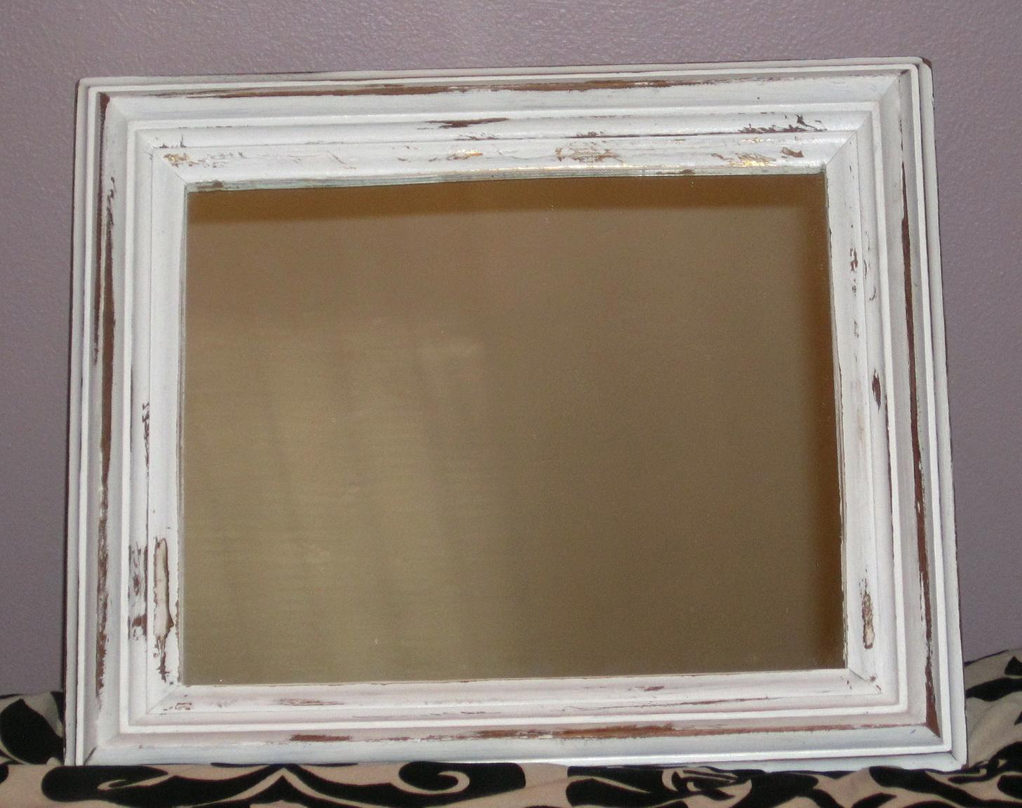 White Distressed Wood Mirror