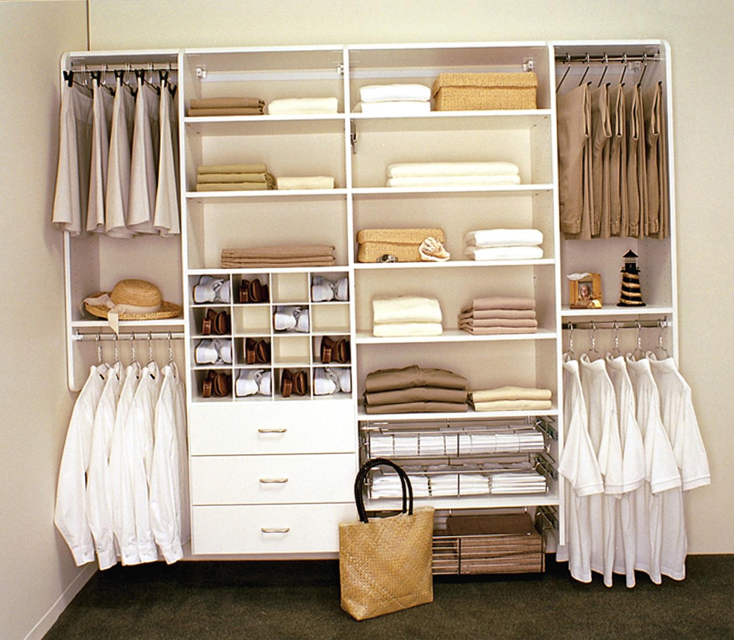 White Wood Closet Organizers