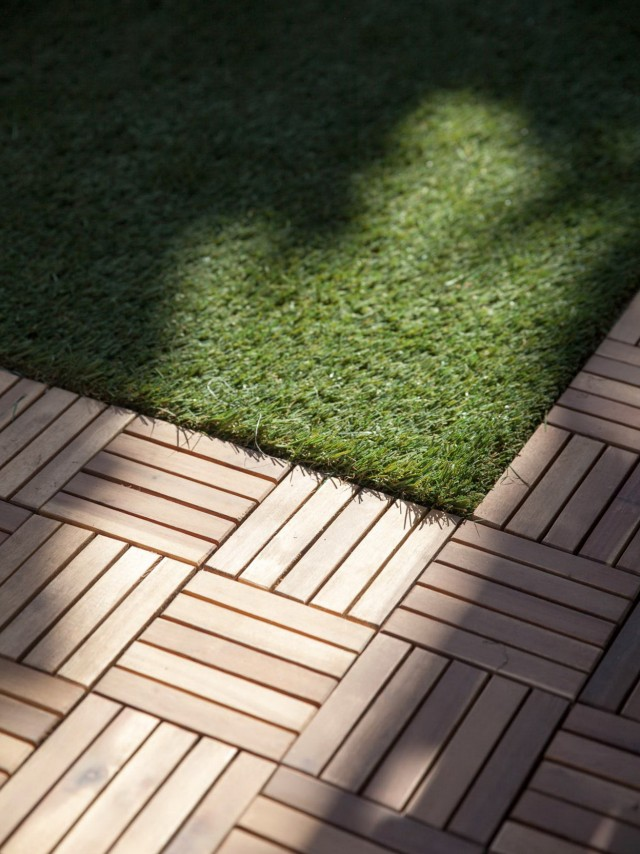 Wood Deck Tiles Over Grass