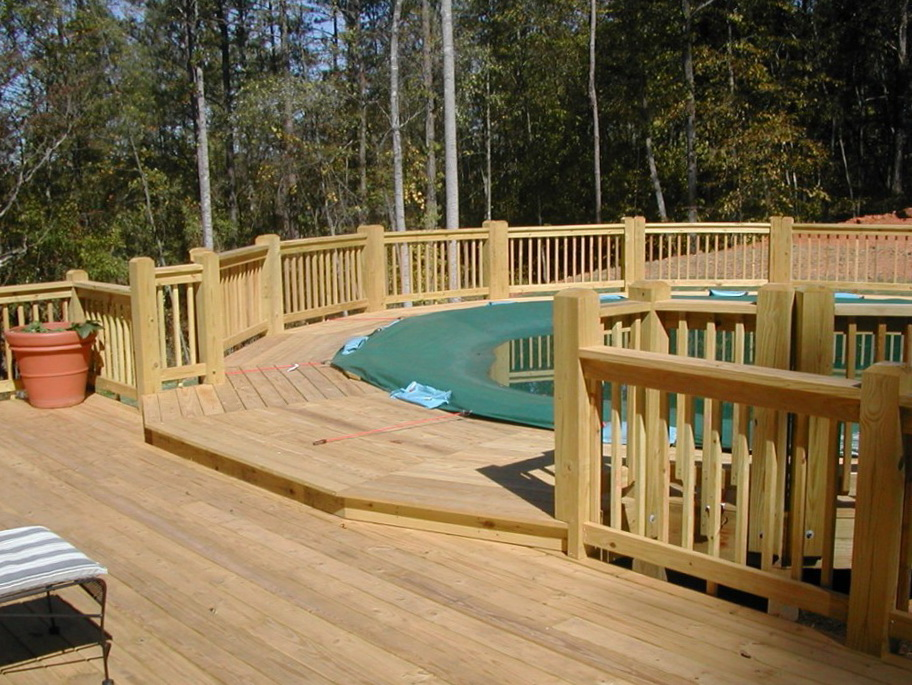 Above Ground Pools With Decks Connected To House